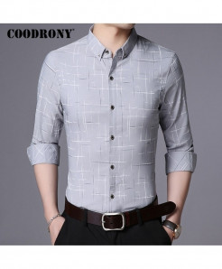 COODRONY Gray Plaid Pattern Casual Shirt