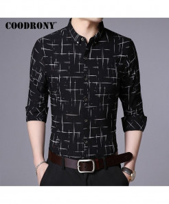 COODRONY Black Plaid Pattern Casual Shirt