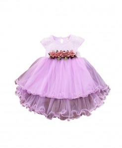 WEIXINBUY Purple Toddler Princess Floral Dress