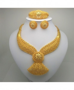 Kingdom Ma Golden African Beads Stylish Jewelry Set