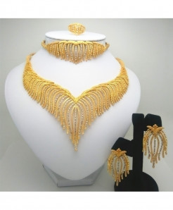 Kingdom Ma Golden African Beads Jewelry Set