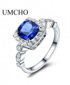 UMCHO Sapphire 925 Sterling Silver Ring