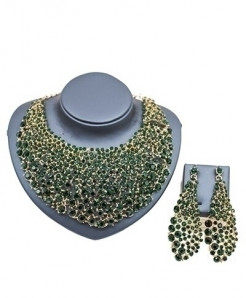 LAN PALACE Green Nigerian Jewelry Set