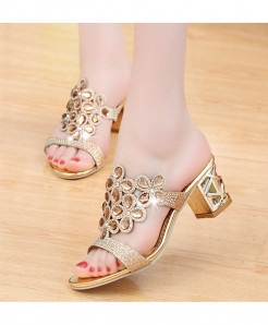 Lucyever Golden Rhinestone Hollow Out Chunky Flip Flops