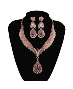 YOUFIR Pink Crystal Delicate Jewelry Set