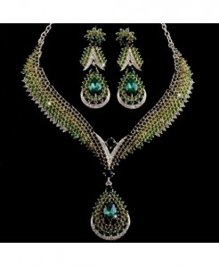 YOUFIR Green Crystal Delicate Jewelry Set