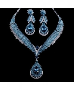 YOUFIR Blue Crystal Delicate Jewelry Set
