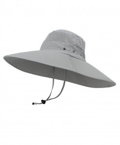 Light Gray Super Long Wide Brim Bucket Hat