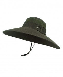 Green Super Long Wide Brim Bucket Hat