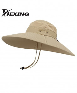 Khaki Super Long Wide Brim Bucket Hat