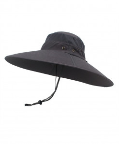 Dark Gray Super Long Wide Brim Bucket Hat