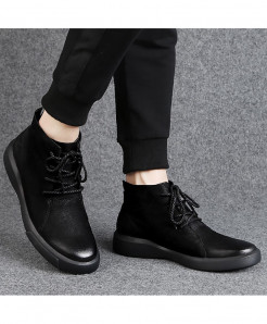 CYFMYD Black Genuine Leather Wear Resistant Non-Slip Rubber Ankle Boots