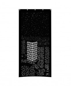Black City Night light Design Roller Blind Curtains