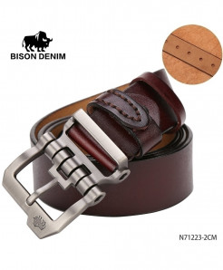 BISON DENIM Coffee Cow-Skin Strap Vintage Buckle Belt
