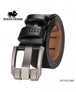 BISON DENIM Black Cow-Skin Dual Grip Strap Buckle Belt