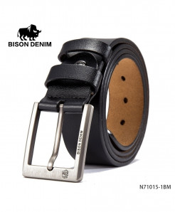 BISON DENIM Plain Black Cow-Skin Buckle Belt