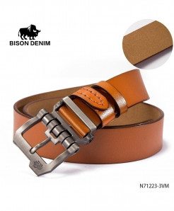BISON DENIM Yellow Cow-Skin Plain Buckle Belt
