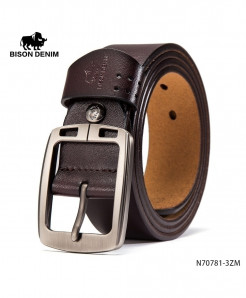 BISON DENIM Brown Cow-Skin Square Design Buckle Belt