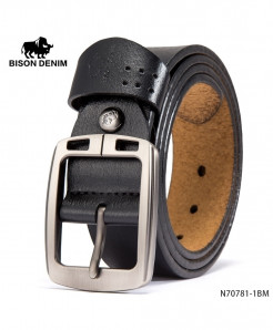 BISON DENIM Black Cow-Skin Square Holed Design Buckle Belt
