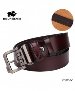 BISON DENIM Shiny Black Cow-Skin Strap Vintage Buckle Belt