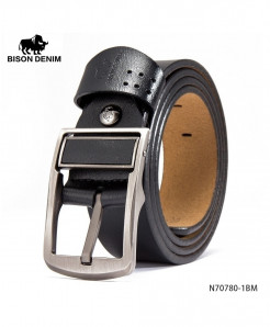BISON DENIM Black Cow-Skin Grip Strap Vintage Buckle Belt