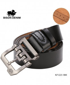 BISON DENIM Brown Cow-Skin Strap Vintage Buckle Belt