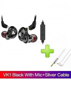 QKZ Black Clear With Silver Cable Monito Earplug Handsfree