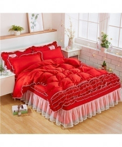Red Bow Ruffle Duvet Cover Stylish Bed Skirt