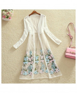 FTLZZ White Thin Netted Floral Embroidery Long Gown Shirt