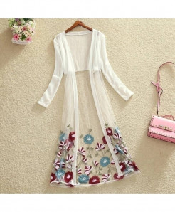 FTLZZ White Floral Pattern Embroidery Long Gown Shirt