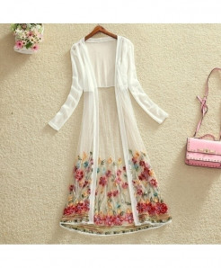 FTLZZ White Floral Embroidery Netted Long Gown Shirt