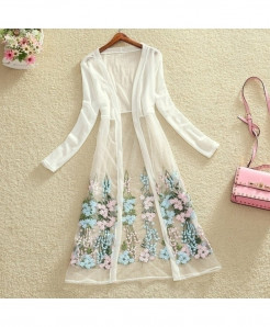 FTLZZ White Floral Embroidery Long Gown Shirt