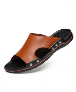MVVT Brown Leather Rubber Casual Slippers