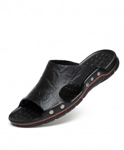 MVVT Black Leather Rubber Casual Slippers