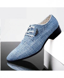 WHEATHUMMINGBIRD Light Blue British Pointed Formal Shoes