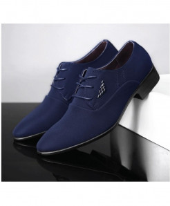WHEATHUMMINGBIRD Blue British Pointed Formal Shoes