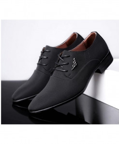 WHEATHUMMINGBIRD Black British Pointed Formal Shoes