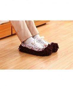 Brown Chenille Slippers Reusable Sweep Dust Cleaning Mop
