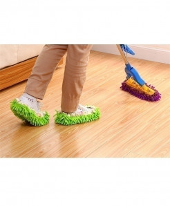 Purple Chenille Slippers Reusable Sweep Dust Cleaning Mop