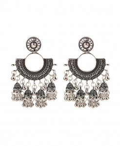 Amader Silver Ethnic Hippie Tassels Drop Earrings