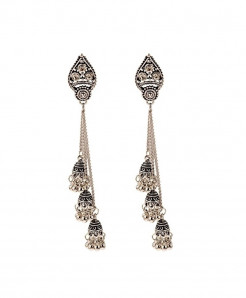 Amader Silver Turkish Alloy Long Chain Drop Earrings