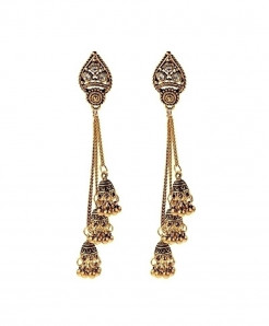 Amader Golden Turkish Alloy Long Chain Drop Earrings