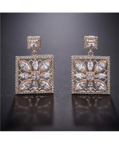 YANMEI Champagne Square Flower Hollow Cubic Stud Earrings