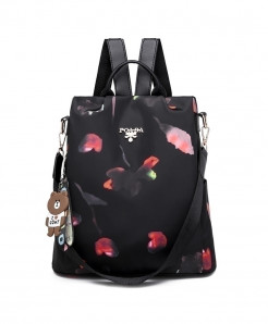 DIZHIGE Black Red Petals Oxford Style Backpack