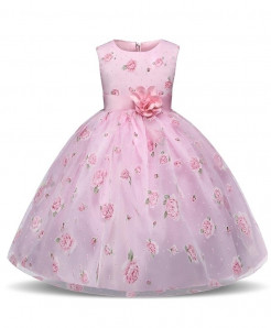 Pink Floral Netted Toddler Stylish Girl Dress