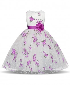 Purple Floral Toddler Stylish Girl Dress