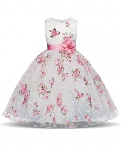 Pink Floral Toddler Stylish Girl Dress