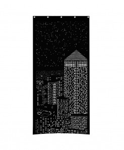 Black Modern City Night light Design Roller Blind Curtains