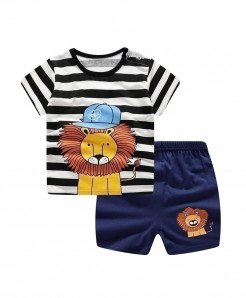 ABreeze Lion Cap Printed O-Neck Baby Boy Dress
