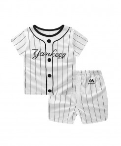 ABreeze Lining Yankees Printed O-Neck Baby Boy Dress